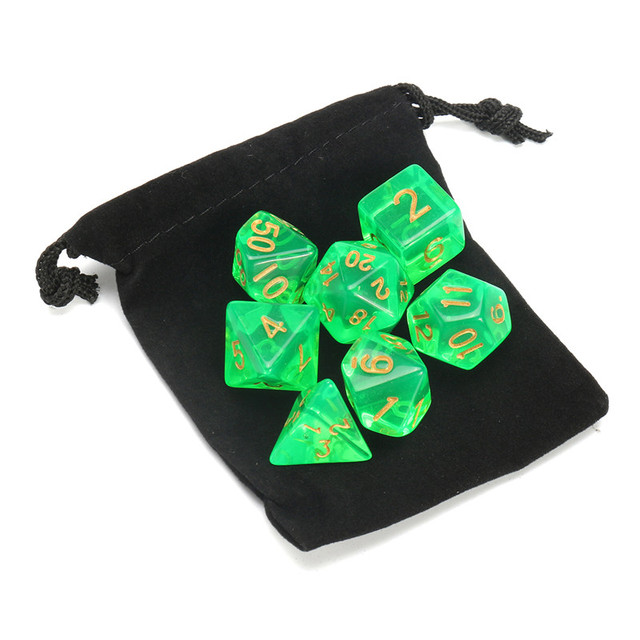 High Quality 7 Pcs/Set Polyhedral Dice Light Green with Bag DnD RPG 4 6 8 10 12 20 D4-D20 TRPG Games Customize your games