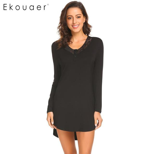 35a7b712235 Ekouaer Women Nightgown Sleepwear V-Neck Long Sleeve Lace Trim Sleep Dress  Lady Soft Home Lounge Nightwear Nightdress