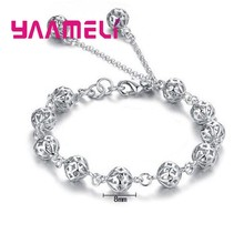 Latest Fashion Bijoux Pulsera Minimalist Cute Hollow Ball Adjustable Bracelet for Women 925 Silver Bracelets Femme Jewelry(China)