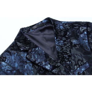 Image 3 - Shenrun Men Floral Blazers Navy Blue Wine Red Suit Jacket Slim Fit Blazer Singer Jackets Host Stage Costume Musician Size M 6XL