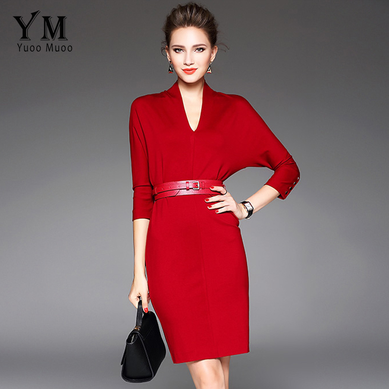 YuooMuoo New Brand Design V neck Women Office Dress Elegant Batwing Sleeve Red Dress Female Spring Knee length Dress with belt