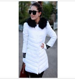 2013 New Winter WomenS Lace Knit Sleeve Single-Breasted Wool Long Slim Down Jacket Ladies Cotton Padded Duck Down Coat H1143