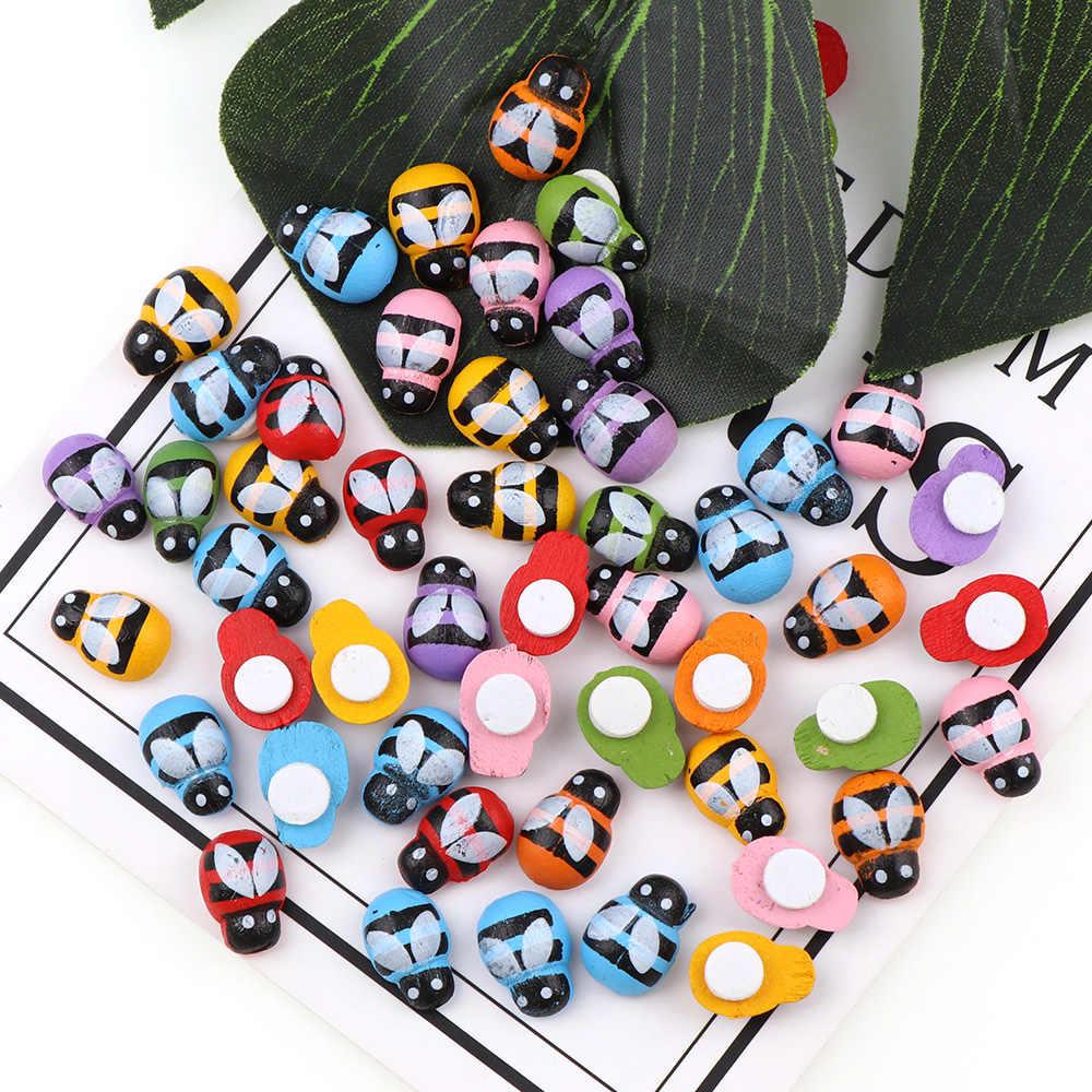 100 шт деревянная разноцветная наклейка «пчела», Детская самоклеящаяся Задняя панель для поделок, магниты на мини-холодильник для скрапбукинга