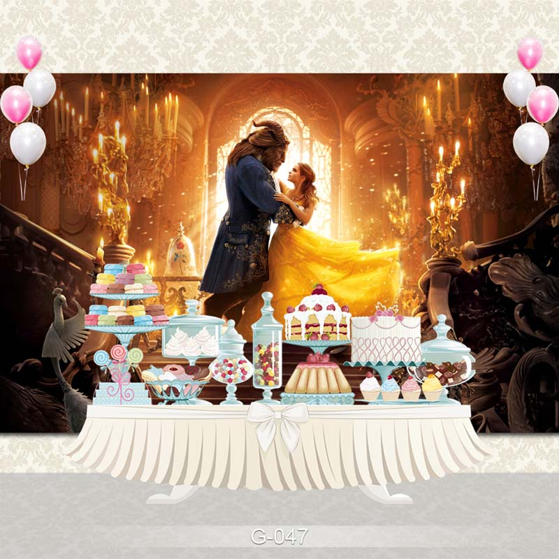Vinyl Photography Background Fairy Tale Princesses Beauty and the Beast Birthday Party Children Backdrops for Photo Studio G-047 vinyl photography background fairy tale