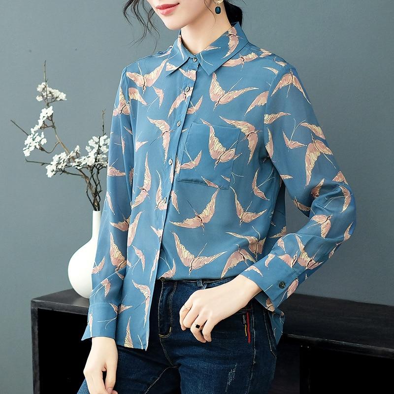 Qualité Chemises De Printemps Vêtements Top Femmes Réel P7970 Nouveau Imprimé Soie 100 Mode Haute Blue Et 2019 Blouses dv7fqw0
