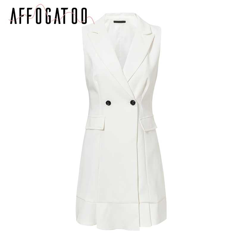 Affogatoo seksi V boyun ofis bayanlar beyaz blazer elbise kadınlar zarif fırfır kolsuz parti elbise Vintage ince çalışma kısa elbise