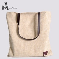 Leather Linen Bag Heavey Cotton Tote Bag Reusable Grocery Casual Shoulder Bag Elephant Icon With Zipper