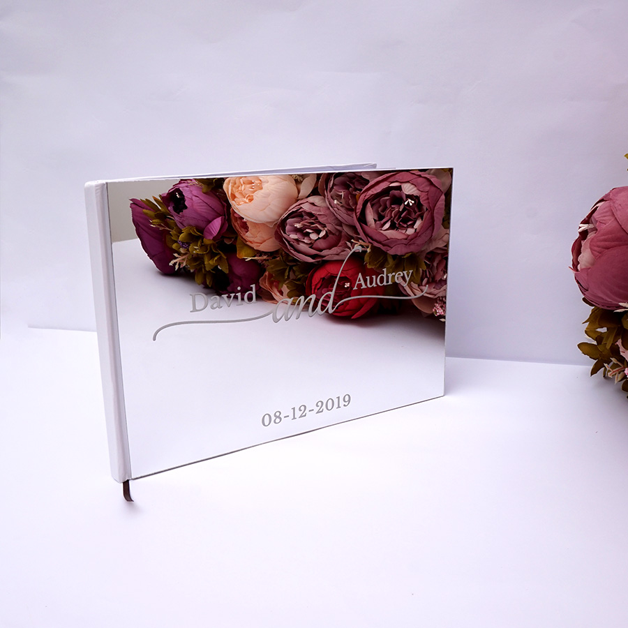 25x18cm Personalized Custom Wedding Signature Guest Book Acrylic Mirror White Blank Party Favors Photo Album