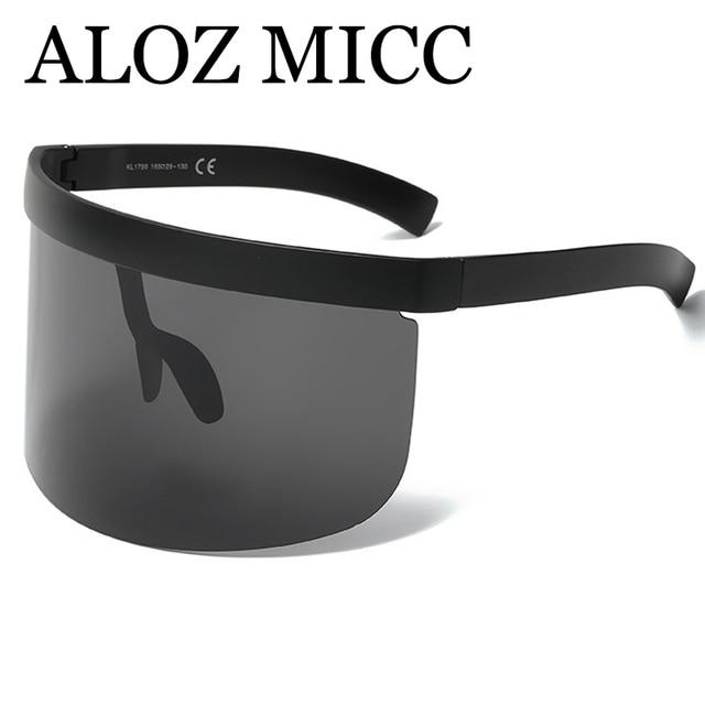 ALOZ MICC Luxury Oversize Shield Visor Sunglasses Women Unique Rimless Vintage Men Flat Top Shades Color Eyewear UV400 Q142