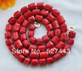 "Wholesale free shipping >>S1539 natural 33"" 13x15mm massive red coral bead NECKLACE"