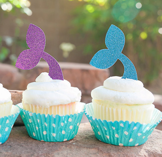 Mermaid Tail Cupcake Toppers, under the Sea Food Picks Nautical wedding party baby bridal shower birthday cake topper deco