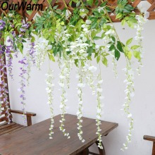 OurWarm 12pcs  Artificial Silk Wisteria Flower Vine Hanging Rattan for Wedding Party Home Decoration Decorative Flowers Garland