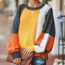 2019 Autumn Winter Casual Swearer Women New Color Block Batwing Sleeve Streetwear Knitwear Oversize Knitted Top Female Pullover