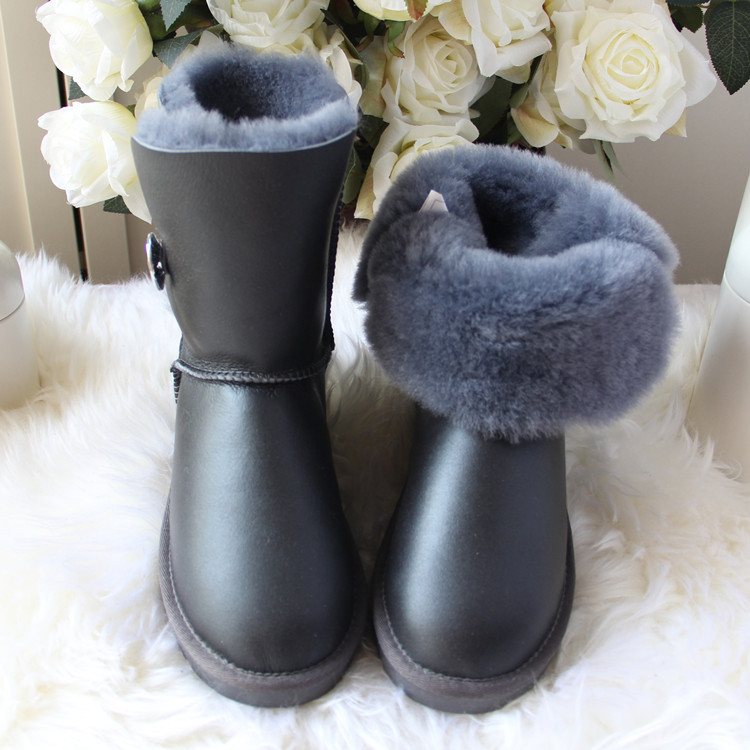 2019 mody najwyższej jakości kobieta śnieg buty prawdziwa skóra jagnięca skórzane buty damskie 100% naturalne futro ciepłe wełniane buty zimowe buty w Buty do połowy łydki od Buty na  Grupa 3