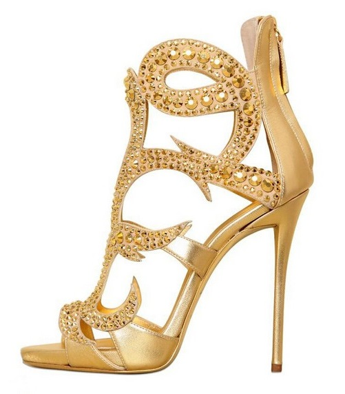 Gold Metallic Crystal High Heel Women Sandals Peep Toe Cut-out Gladiator Sandals Boots Back Zipper Cage Shoes Big Size 10