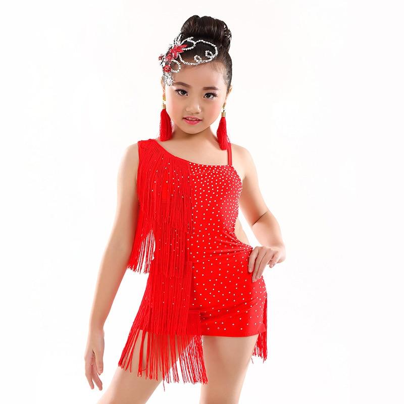 6-12 Years Children Dance Dress One Piece Girls Latin Dresses Beads Fringe Ballroom Latin Dress For Kids