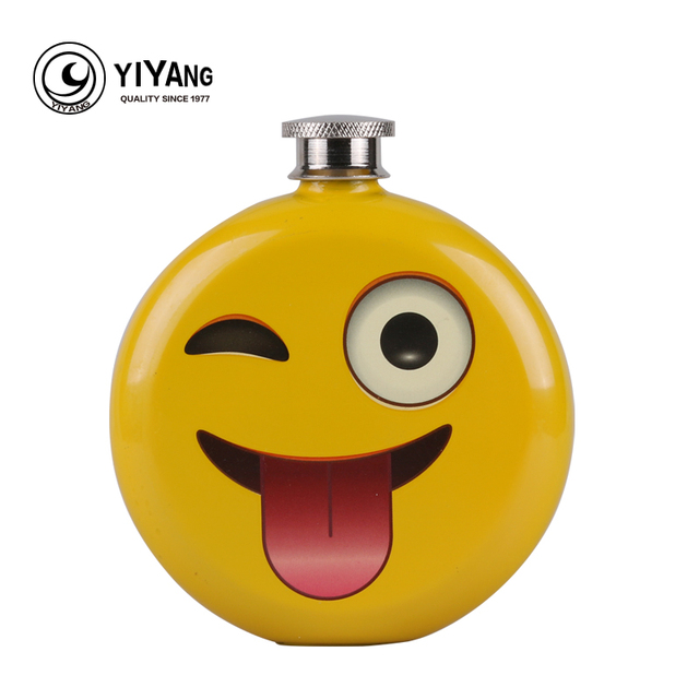 Smile Emoji Decorative Stainless Steel Hip Flask Emotional Facial Expression Vodka Flasks For Alcohol Whiskey Liquor Wine Pot