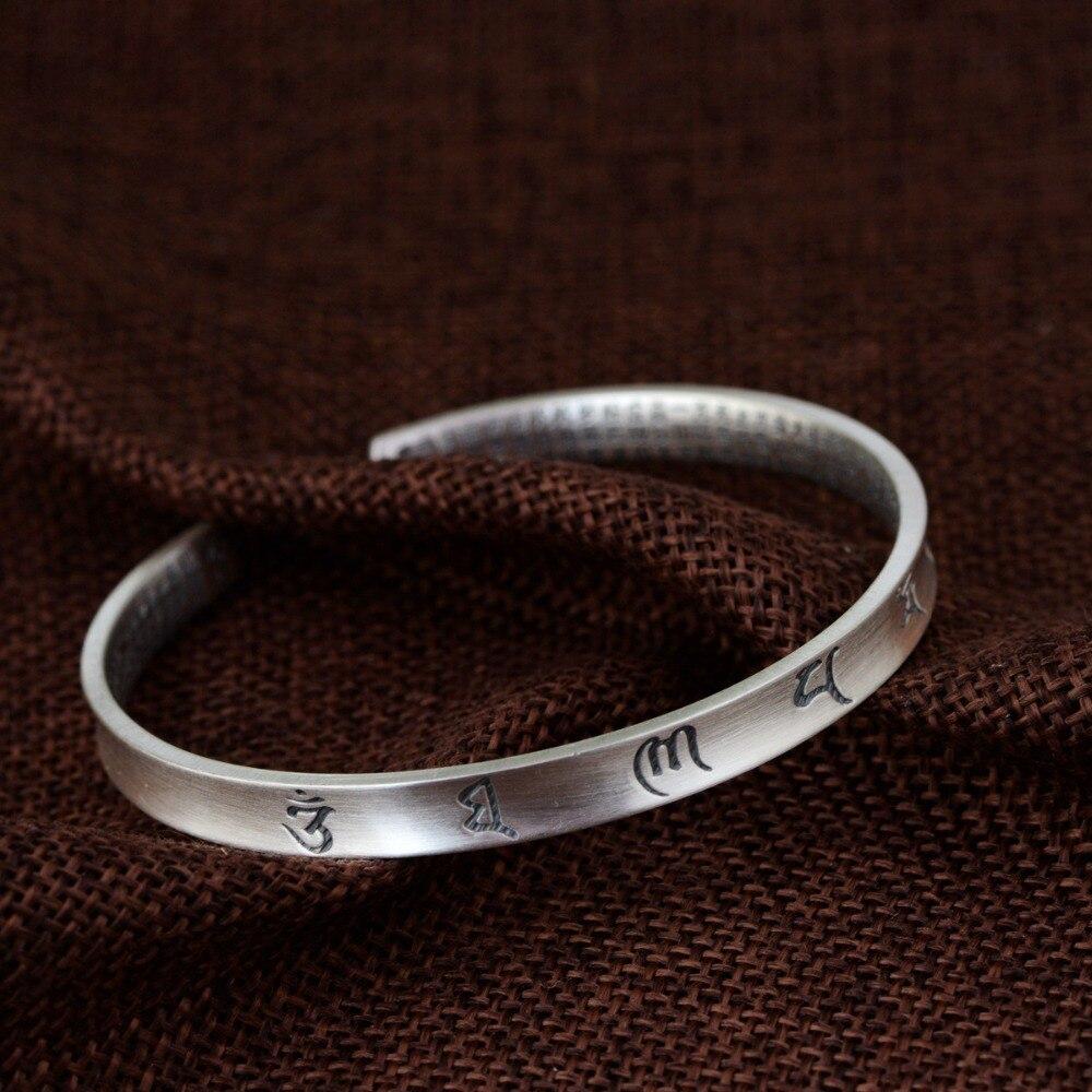 HFANCYW nouveau Design 990 argent Thai argent mat artisanat Bracelet bouddhiste Six mots femelle ouverture taille Style argent Bracelet cadeau
