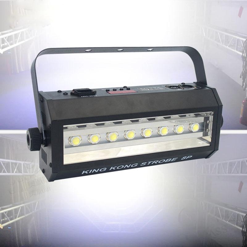 LED DJ Strobe Light 200W Powerful 8Pcs 20W LED Strong White Flash Lights DMX Sound Control Stroboscope For Disco DJ Bar Club