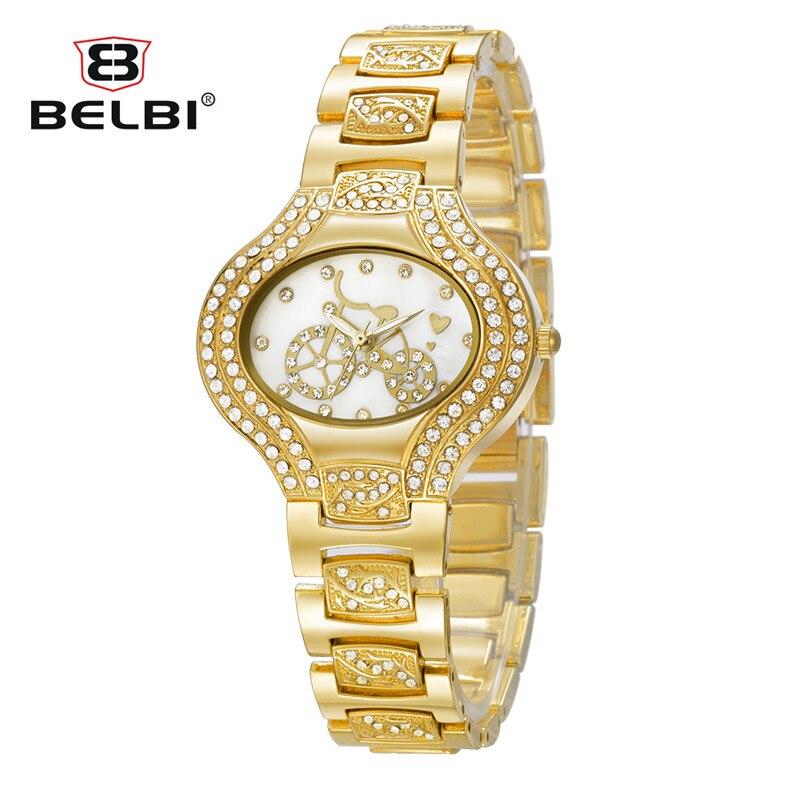 BELBI Top luxe cadran de vélo dames robe montres Design moyen est gratuit romantique amour alliage bracelet de montre Quartz batterie or argent