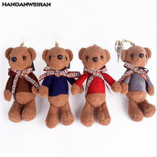 HANDANWEIRAN 1PCS Mini Cute Bear Plush Toy Key Pendant Tie Bears Toys Female Bag Decoration Boy Girl Small Gift 15CM