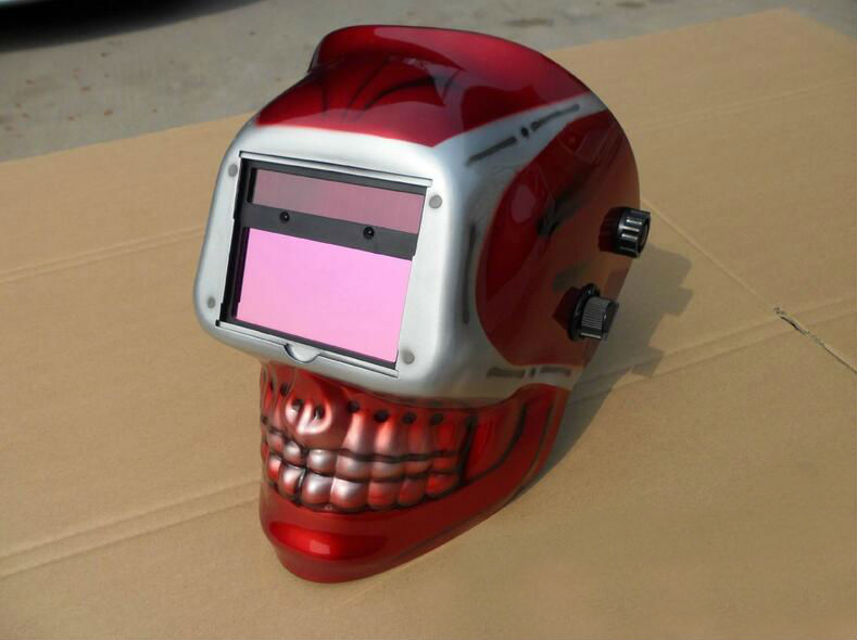 Free shipping red scarf welding cap welding mask good looking helmet skull 2017 new real shot Soldering iron new halloween skull skeleton outdoor motorcycle bicycle multi function headwear hat scarf half face mask cap neck ghost scarf