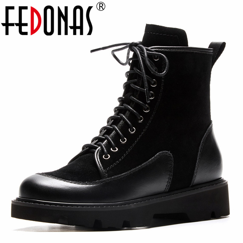 meotina genuine leather boots women ankle boots thick heels motorcycle boots zip winter lace up autumn ladies martin shoes black FEDONAS Fashion Women Genuine Leather Motorcycle Boots Thick High Heels Autumn Winter Martin Shoes Woman Lace Up Round Toe Boots