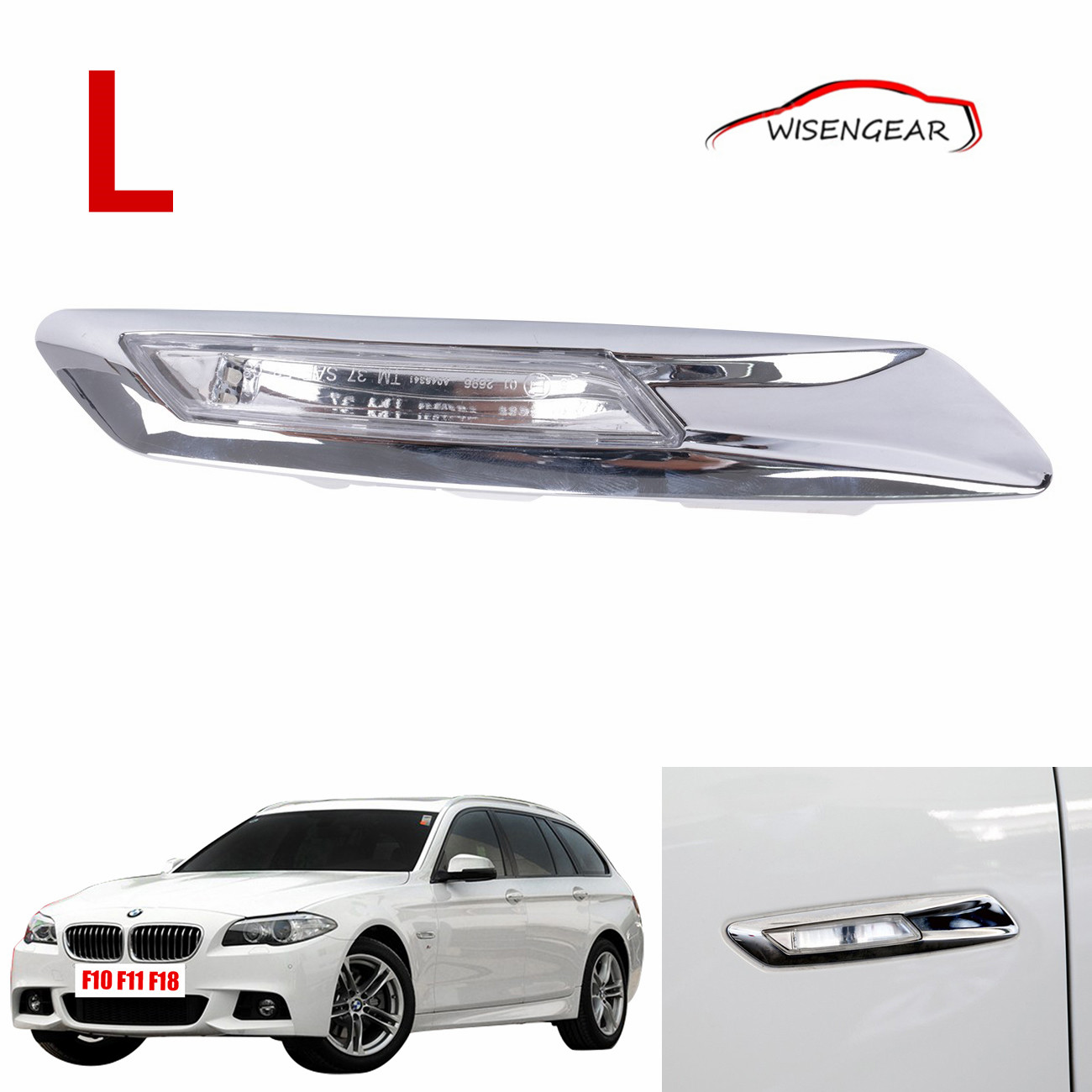 Left Chrome LED Side Turn Signal Light For BMW F10 F11 F18 5 series 550i 535i 528i M5 2011 - 2015 Replay 3137154167 C/5 free shipping 2x led turn signal side light auto parts led side marker car accessories with m logo for bmw e46 02 05 4d 5d