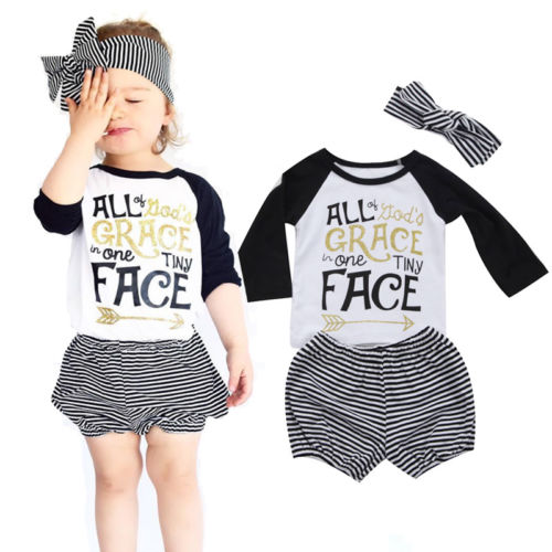 3PCS Newborn Infant Toddler Baby Girls Outfit Clothing Long Sleeve Top T-Shirt+ Striped Shorts Pants Clothes Set