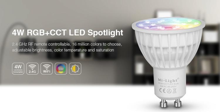 MiLight AC86-265V 4W LED Bulb GU10 Dimmable LED Lamp Light RGB+Warm White+White (RGB+CCT)  Spotlight Indoor Living Room