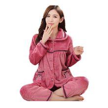 8b07d049f46 Autumn and winter plus size M-4XL 5XL 6XL Pregnant Flannel cartoon  thickening coral fleece sleepwear women Pajama Sets 3xl-6xl