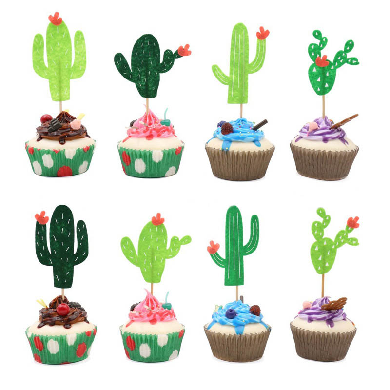 6/8pcs Lovely Felt Cactus Cake Topper Cupcake Pick For Wedding Birthday Party Cake Decoration Christmas Home Baking Supplies 8Z