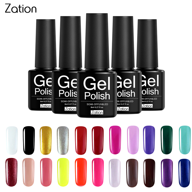 Zation Semi-permanent 29 Colors UV Gel Nail Polish Lacquer Semi Permanent Pure Color Nail Glue Soak Off Hybrid Gel Varnish elite99 29pcs set not moving cat eye gel 3d long stay cat eye effect nail gel polsih 10ml soak off uv gel lacquer semi permanent