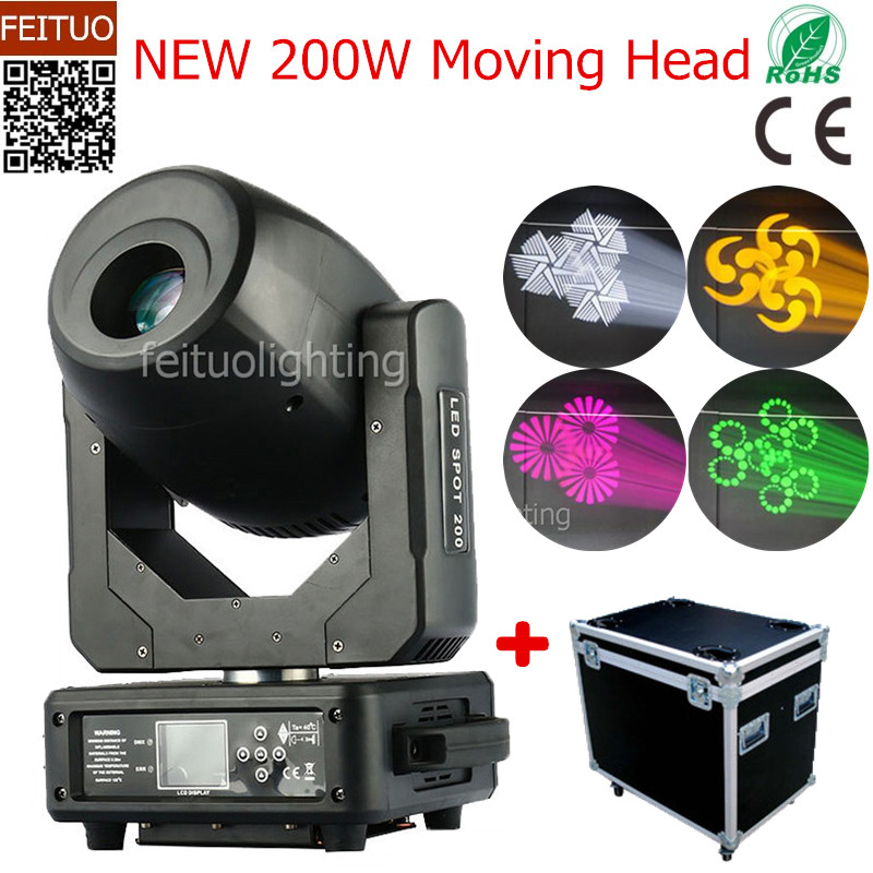 4pcs/lot+flight case 200w LED Lyre Moving Head Light Spot Gobo Lamps with 3 Prism LED Spot Moving Head Stage Light