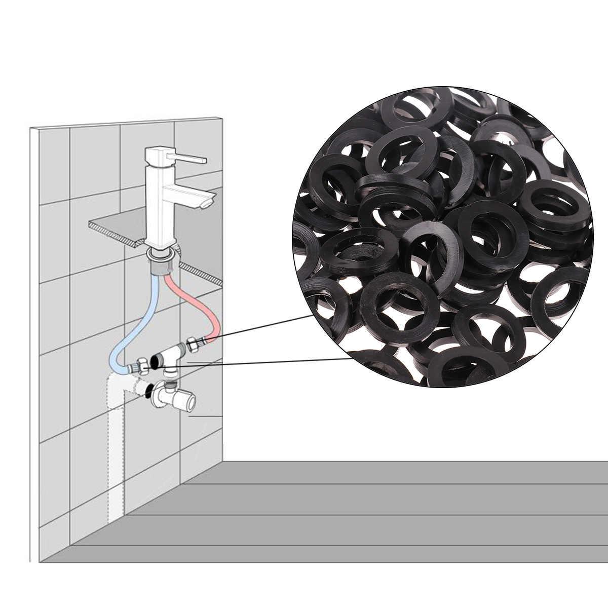 Black 100 pcs Sealing Flat Gasket Rubber Silicone O Ring Seal Washer Bellows Hose Half Inch