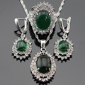 Created Silver Color Bridal Jewelry Sets For Women Christmas Green White Crystal Drop Earrings/Pendant/Necklace/Rings Free Box
