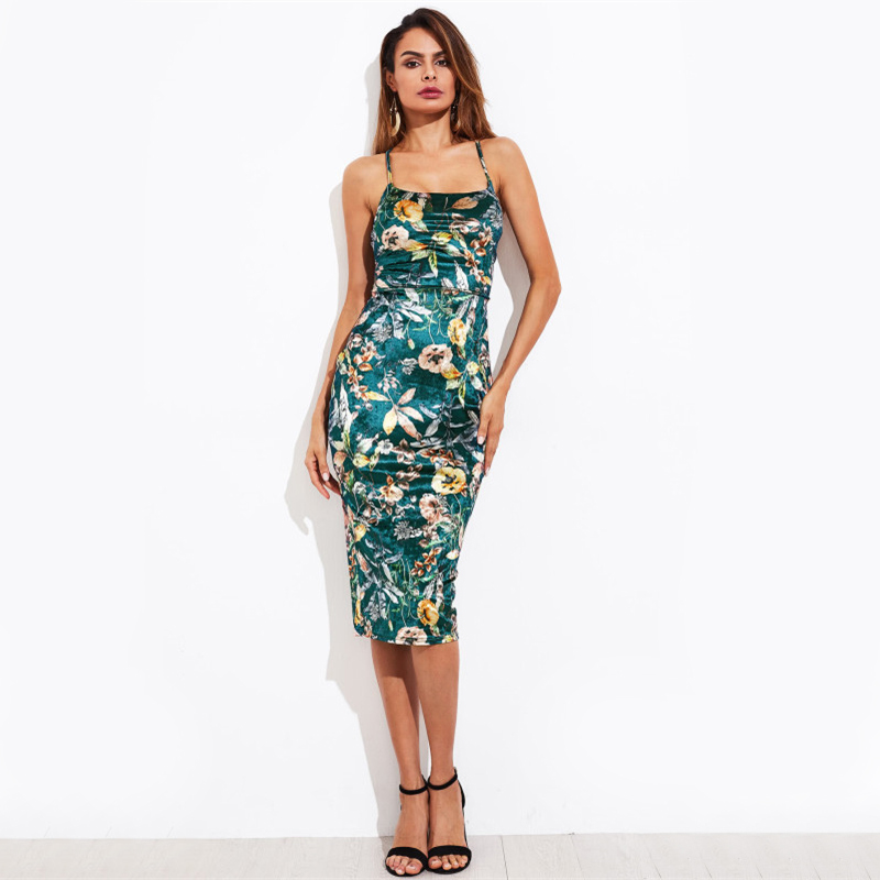 Green Elegant Lace Up Back Floral Midi Bodycon Velvet Dress