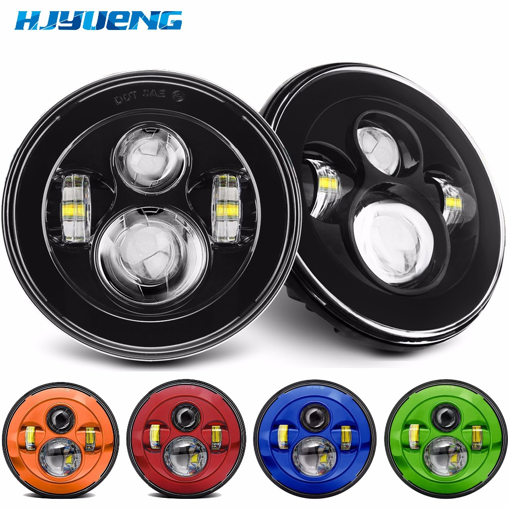 HJYUENG for Benz G36 7 Round Led Headlights High & Low 6000K Daytime Running Lights for Jeep Wrangler JK TJ Lada Niva Auto Cars