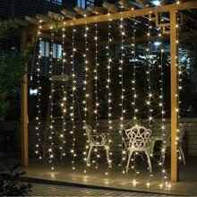 3x 3m 300 مصباح LED متدلي سلسلة أضواء عيد الميلاد عيد الميلاد الجنية أضواء في الهواء الطلق المنزل لحفل الزفاف/الطرف/الستار/حديقة الديكور