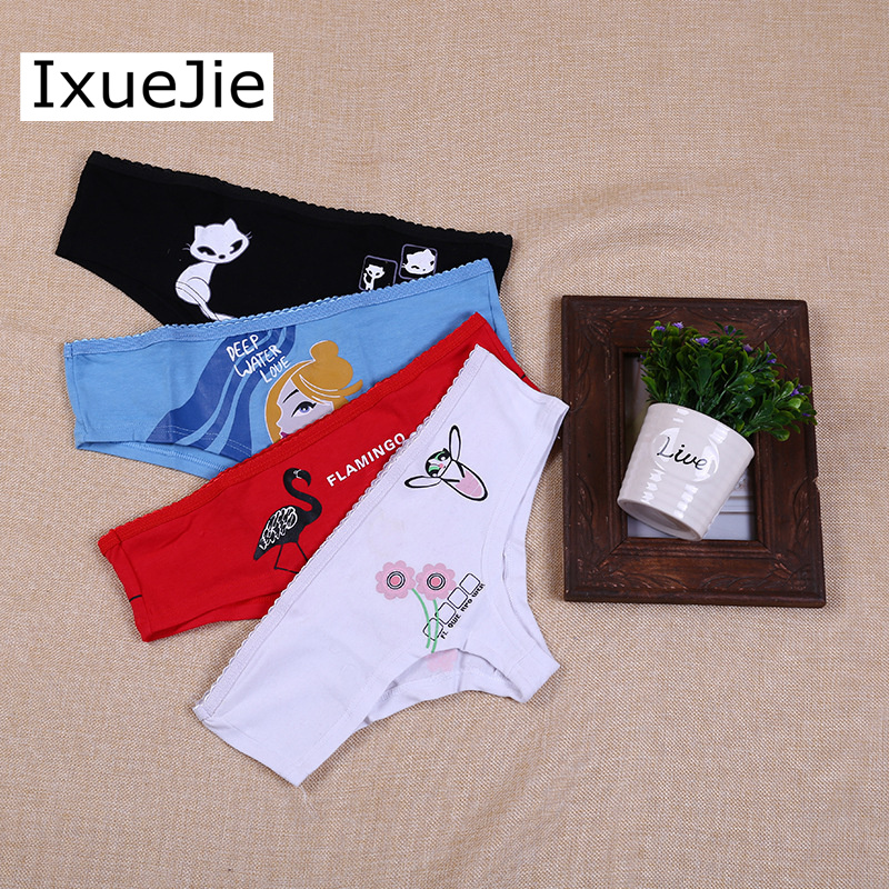 Ixuejie 3Pcs/Lot Low Waist Cotton Women Print Sexy Underwear Ladys Briefs Female Breathable Cute Panties ...