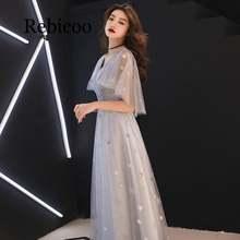 Женское платье с вышивкой rebicoo серое Деловое коротким рукавом