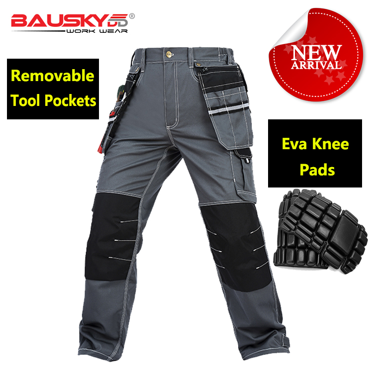 Bauskydd Mens polycotton durable work trousers with eva knee pads black work pant workwear carperner pant men free shipping bauskydd mechanic pant trouser multi pockets cargo trousers grey work pant men with knee pads carpenter pants free shipping