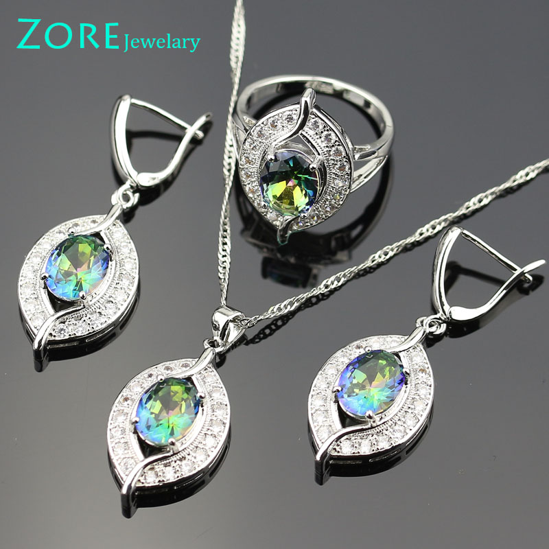 Smooth Blue Rainbow Women Wedding Jewelry Sets White Crystal Bracelts Necklace/Earrings/Pendant/Rings Bjs01-009