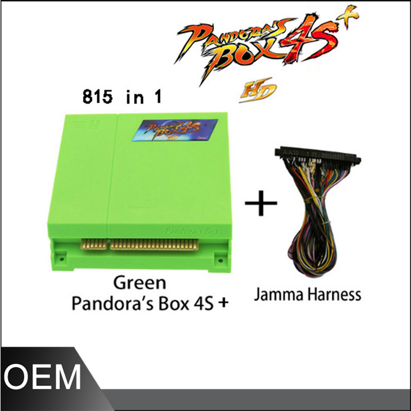 Jamma arcade pcb board 815 in 1 Pandora box 4S with 28 pin wire harness HDMI VGA/CGA output for arcade machines led lights mini arcade bundle machines 645 in 1 joystick game consoles with jamma multi games pandora 4 game pcb board