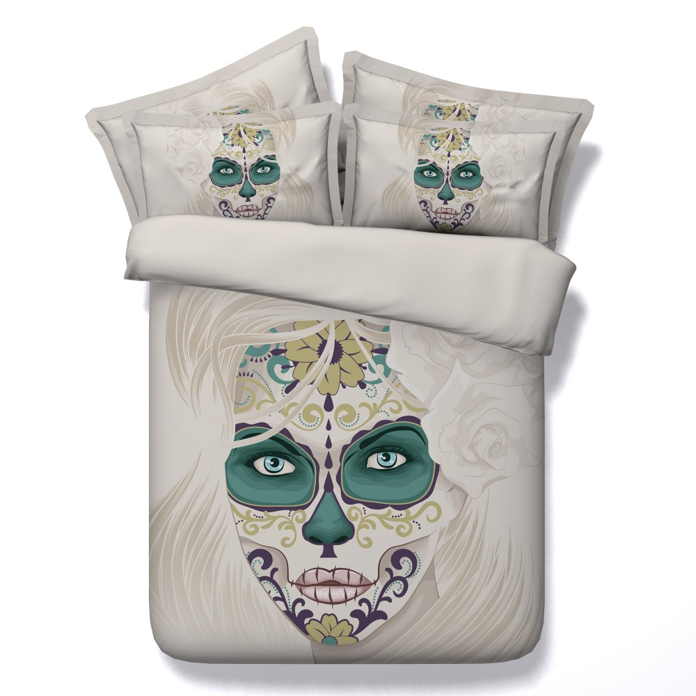 Bedding sets for women - 6 Parts Per Set Bed Sheet Set Beautiful Woman With Day Of The Dead Decoration 3d