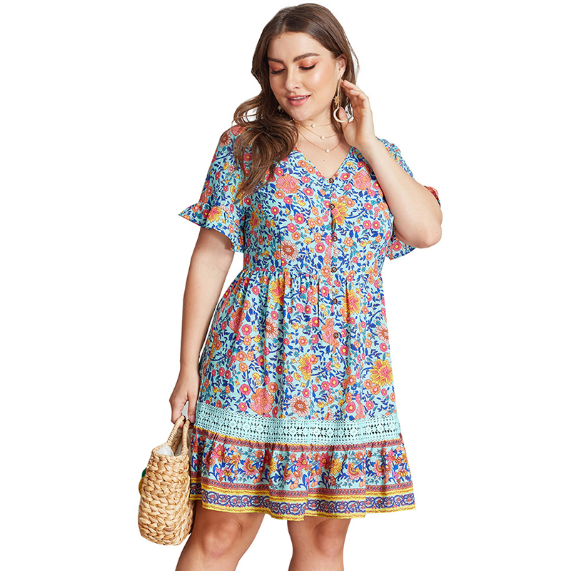US $20.33 40% OFF|Plus Size 3XL 4XL Dress Femme Short Flare Sleeve Pink  Flower Printed Deep V Neck Hollow Out Lace Patchwork Dress Women-in Dresses  ...