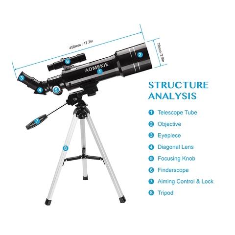 aomekie 40070 astronomico telescopio com tripe compacto