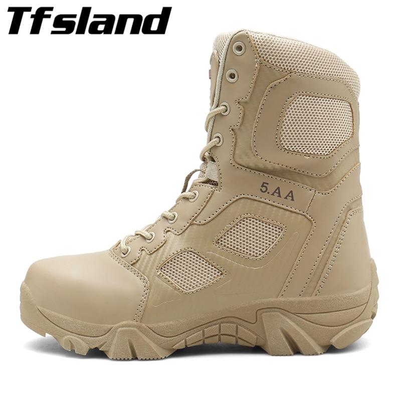 Homme chaussures de randonnée grande taille 47 chaussures de Trekking baskets hommes haut bottes tactiques à lacets bottes d'escalade homme armée chaussures de plein air