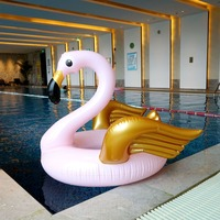 130cm Giant Pink Flamingo Gold Wings Inflatable Swimming Ring For Adult Children Summer Party Pool Float Water Toys boia piscina