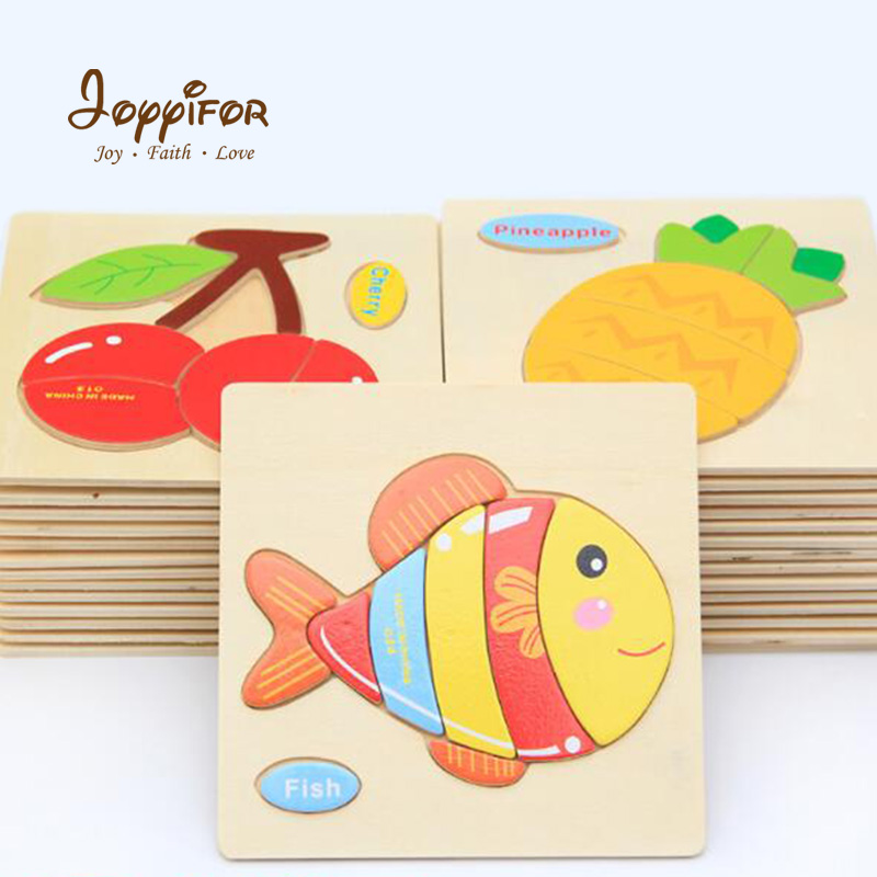 FGHGH 3D Wooden Puzzle Cartoon Animals Vehicle Horse Models Baby Jigsaw Early Education Learning Toys Children Kids Game Gifts